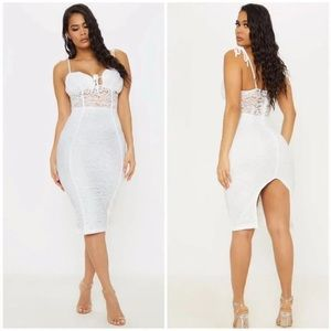 PrettyLittleThing Lace Ruched Bodycon Dress White